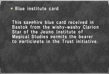 Blue institute card