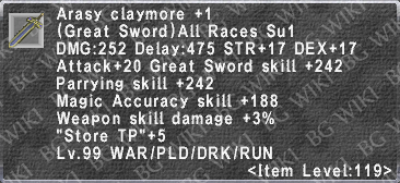 Arasy Claymore +1 description.png