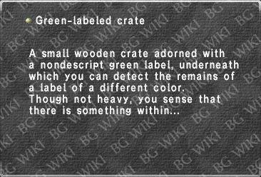 Green-labeled crate