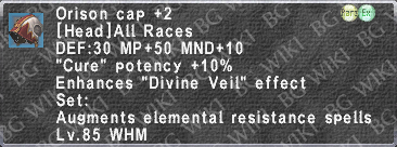 Orison Cap +2 description.png