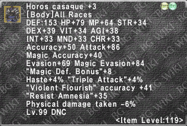 Horos Casaque +3 description.png