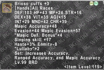 Brioso Cuffs +3 description.png