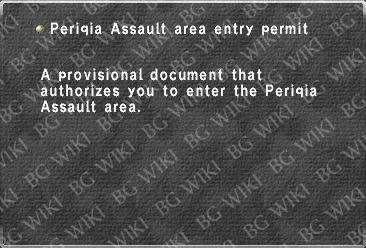 Periqia Assault area entry permit