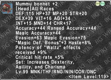 Mummu Bonnet +2 description.png