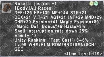 Ros  Jaseran +1 - BG FFXI Wiki