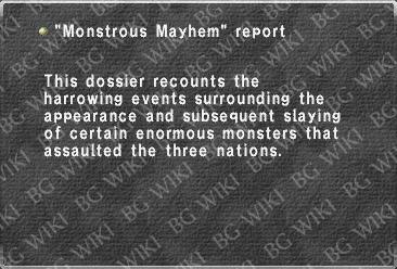 """Monstrous Mayhem"" report"