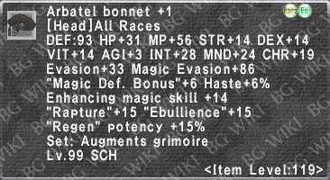 Arbatel Bonnet +1 description.png