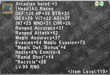 Arcadian Beret +3 description.png